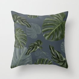 monstera navy pattern Throw Pillow