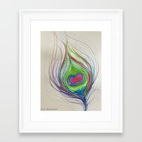 peacock feather Framed Art Prints featuring Peacock Feather by Aries Art