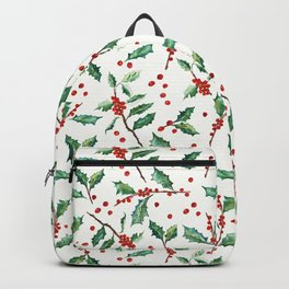 Festive Holly Pattern Backpack