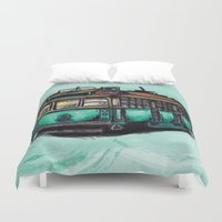 melbourne Duvet Covers featuring Melbourne Tram by thickblackoutline