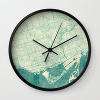 vintage map Wall Clocks featuring Toronto Map Blue Vintage by City Art Posters