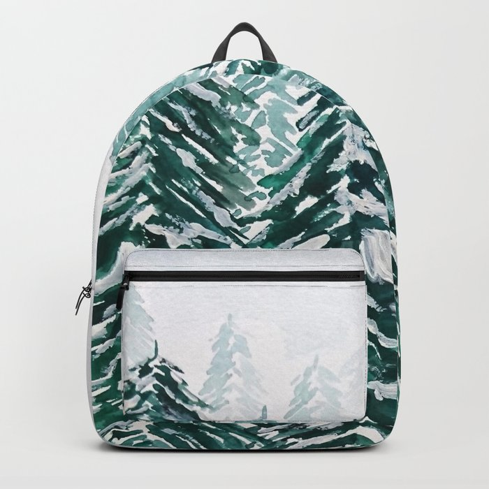 snowy pine forest in green Backpack