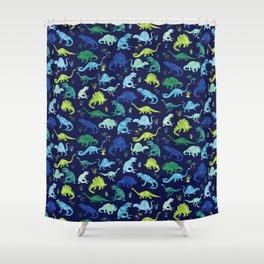 Watercolor Dinosaur Blue Green Dino Pattern Shower Curtain