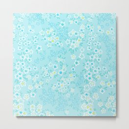 Forget Me Knot - Little Flowers on aqua Metal Print