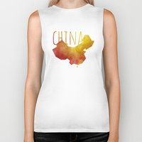 china Biker Tanks featuring China by Stephanie Wittenburg