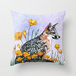Channel Island Fox (Blue Sky) Throw Pillow