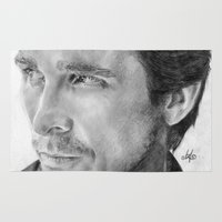 christian Area & Throw Rugs featuring Christian Bale Traditional Portrait Print by bianca.ferrando