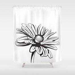Gerbera Daisy Black & White Print Shower Curtain