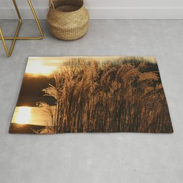 Sunrise in the grass Rug