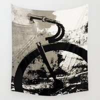 bike Wall Tapestries featuring Coal Bike by Fernando Vieira