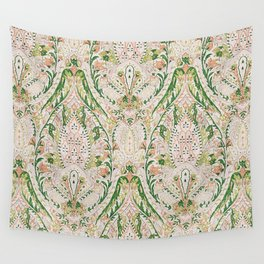 Green Pink Leaf Flower Paisley Wall Tapestry