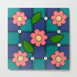 Retro Doodle Flower Style Quilt - Dark Blue and Green Metal Print