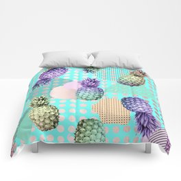 Pineapple Summer Rainbow Rose Gold Comforters