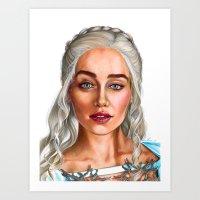 daenerys Art Prints featuring Daenerys Targaryen by IrynaKhymychArt