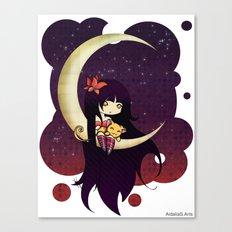 Golden Butterfly Moon Canvas Print