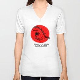 Godzilla Fun Fact Unisex V-Neck