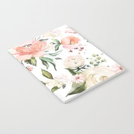 Watercolor Pink Peonies, Pink and White Roses and Greenery Notebook