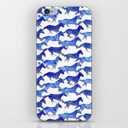 Running Watercolor Horses Pattern - Blue iPhone Skin