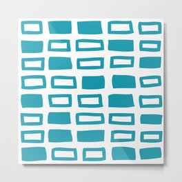 Mid Century Modern Abstract Squares Pattern 442 Turquoise Metal Print