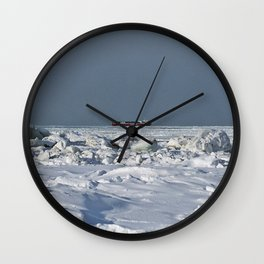 Freighter in the Ice Wall Clock