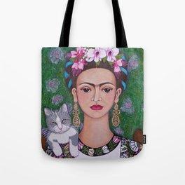 Frida cat lover closer Tote Bag