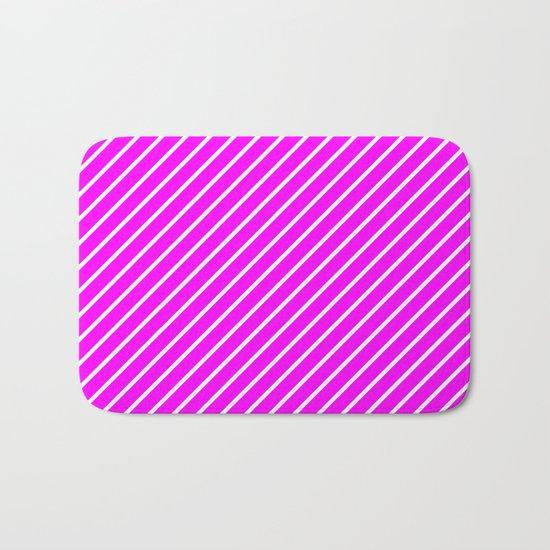 Diagonal Lines (White/Fuchsia) Bath Mat
