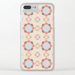Blue Retro Tile Clear iPhone Case