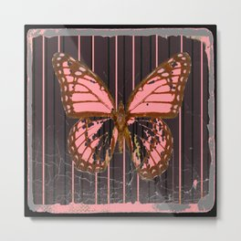 ANTIQUE GRUBY PINK BUTTERFLY ART Metal Print
