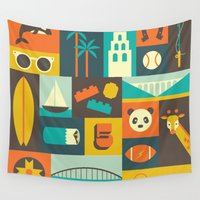 san diego Wall Tapestries featuring San Diego  by Ariel Wilson