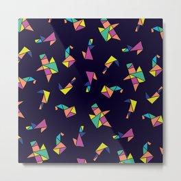 Origami blue Metal Print