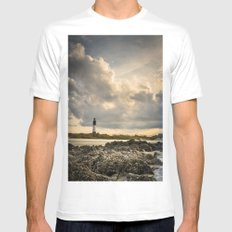 Lost MEDIUM White Mens Fitted Tee