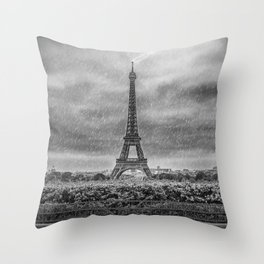 PARIS Eiffel Tower Thunderstorm Throw Pillow