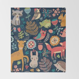 Blue Woodland Critters Pattern Throw Blanket