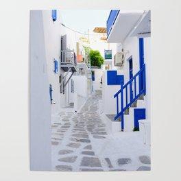 Beautiful Whitewashed Street Mykonos Greece Poster
