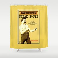 parks Shower Curtains featuring Ron Swanson  |  Steak House Parody |  Parks and Recreation by Silvio Ledbetter