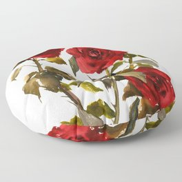 Burgundy Red Roses, deep red floral olive green dark red design roses from garden Floor Pillow