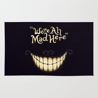 typography Area & Throw Rugs featuring We're All Mad Here by greckler