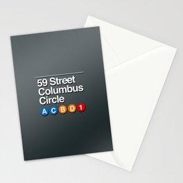 subway columbus circle sign Stationery Cards