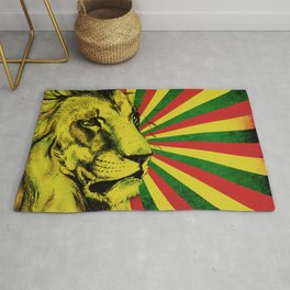 Rasta Lion / Rastafarian Red Gold Green Lion Rug