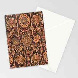 Floral Medallion I // 18th Century Colorful Blue Lime Green Pink Sapphire Plum Burlap Brown Pattern Stationery Cards