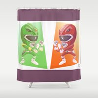 power rangers Shower Curtains featuring Mighty Fightin' Power Rangers by garciarts