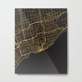 TORONTO CANADA GOLD ON BLACK CITY MAP Metal Print