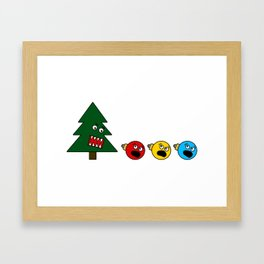 Christmas Tree Chasing Ornament Munchies Framed Art Print