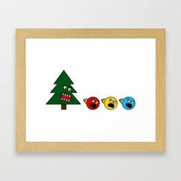 Christmas Tree Chasing Ornament Munchies Framed Art Print