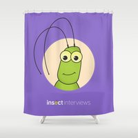 kevin russ Shower Curtains featuring Kevin the Katydid by Insect Interviews