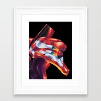 evangelion Framed Art Prints featuring Evangelion EVA-02 by Etienne Chaize