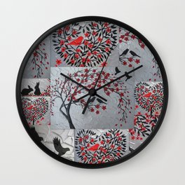 red black grey gray silver art japan japanese nest 2 birds cherry blossom trees blossoms wind Wall Clock