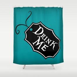 """Drink Me"" Alice in Wonderland styled Bottle Tag Design in 'Alice Blue' Shower Curtain"