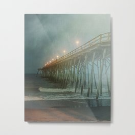 Kure Beach NC Fishing Pier at Night Painterly Metal Print