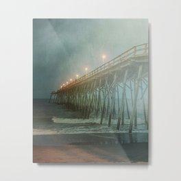 Kure Beach NC Fishing Pier at Night Painterly Metal Print